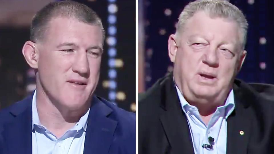 A 50-50 split image shows Paul Gallen on the left and Phil Gould in the right in two screenshots from Channel Nine program 100% Footy.
