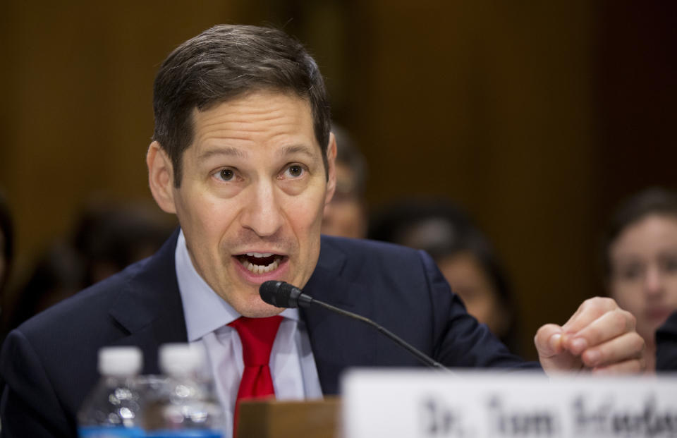 In this photo taken July 13, 2016, Centers for Disease Control and Prevention Director Tom Frieden testifies on Capitol Hill in Washington, Frieden, the head of the government's fight against the Zika virus said that