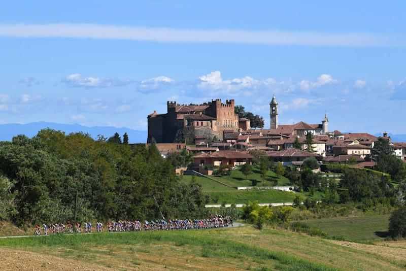 TURIN ITALY AUGUST 05 Castello Dei Conti Calvi Di Bergolo Montemagno Village Castle Peloton Landscape during the 101st Milano Torino 2020 a 198km race from Mesero to Stupinigi Turin MilanoTorino on August 05 2020 in Stupinigi Turin Italy Photo by Tim de WaeleGetty Images