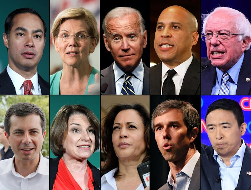 Ten Democratic presidential candidates qualified for September's debate. Top from left: Julián Castro, Elizabeth Warren, Joe Biden, Cory Booker and Bernie Sanders. Bottom from left: Pete Buttigieg, Amy Klobuchar, Kamala Harris, Beto O'Rourke and Andrew Yang