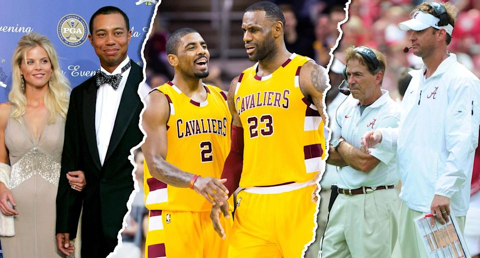 <p>Kyrie Irving's trade to the Celtics on Tuesday breaks up the Cavaliers' championship-winning duo of LeBron James and Irving, but it's not the first time we've seen an A-list sports celebrity relationship fall apart at the peak of its power. </p>