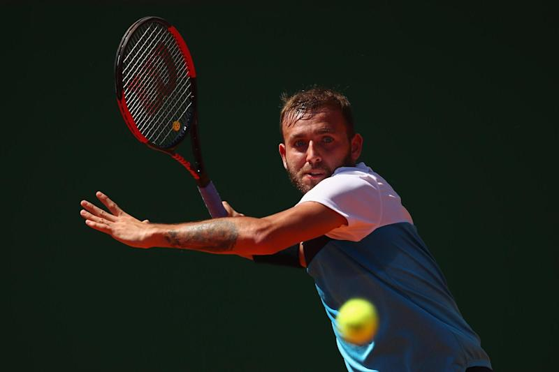 Evans in action on clay in Monte Carlo last week: Getty Images