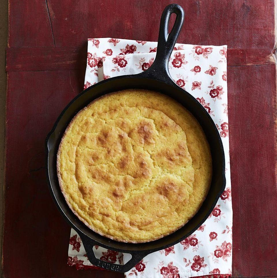 """<p>This simple cornbread is a great way to start the holiday festivities. You can even use mini cast-iron pans for individual portions. </p><p><a href=""""https://www.thepioneerwoman.com/food-cooking/recipes/a9486/skillet-cornbread/"""" rel=""""nofollow noopener"""" target=""""_blank"""" data-ylk=""""slk:Get Ree's recipe."""" class=""""link rapid-noclick-resp""""><strong>Get Ree's recipe.</strong></a></p>"""