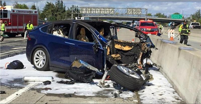 The 23 March, 2018 crash that killed engineer Walter Huang. Mr Huang had complained that his Tesla SUV's Autopilot system would malfunction in the area in which the crash occurred: KTVU-TV via AP