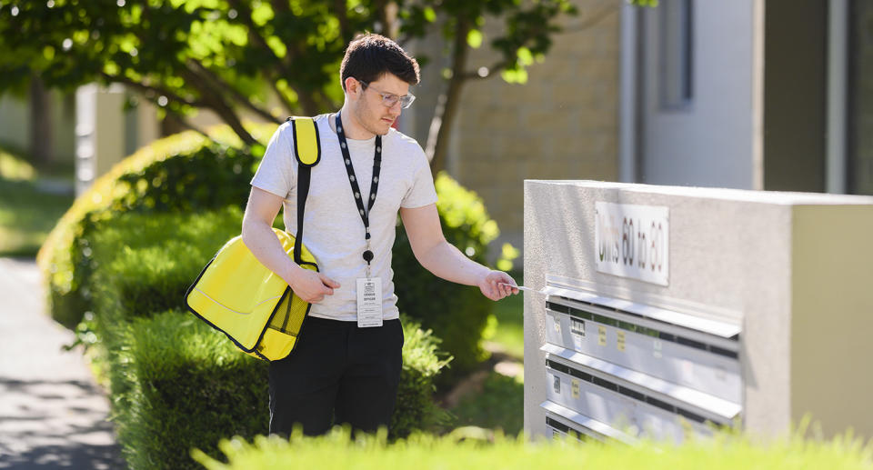 A census worker delivers census information. Source: ABS