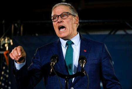 Washington state Governor Jay Inslee speaks during a news conference to announce his decision to seek the Democratic Party's nomination for president in 2020 at A&R Solar in Seattle, Washington, U.S., March 1, 2019.  REUTERS/Lindsey Wasson
