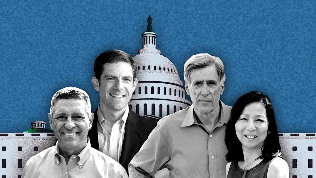 Democratic candidates for Congress in California, Doug Applegate, Mike Levin, Andy Thorburn and Mai-Khanh Tran. (Photo illustration: Yahoo News. Photos: applegateforcongress.com, mikelevin.org, thorburnforcongress.com, doctran2018.com, Getty Images).