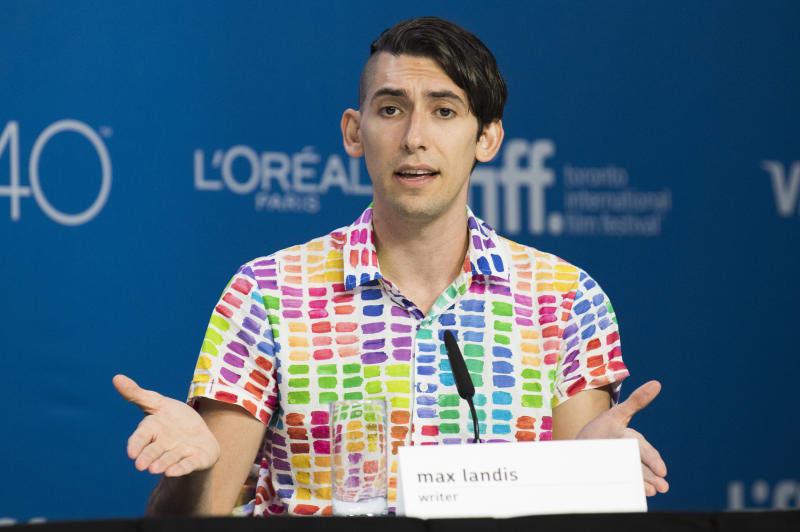 "Writer Max Landis speaks at a press conference for ""Mr. Right"" on day 10 of the Toronto International Film Festival at TIFF Bell Lightbox on Saturday, Sept. 19, 2015, in Toronto. (Photo by Arthur Mola/Invision/AP)"