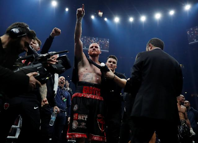 Boxing - World Boxing Super Series Semi Final - George Groves vs Chris Eubank Jr - WBA & IBO World Super-Middleweight Titles - Manchester Arena, Manchester, Britain - February 17, 2018 George Groves celebrates with Shane McGuigan after winning the fight Action Images via Reuters/Andrew Couldridge