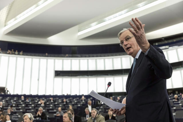 """European Union chief Brexit negotiator Michel Barnier speaks during a debate on Brexit at the European Parliament, Wednesday, Jan.16, 2019 in Strasbourg, eastern France. Barnier says the bloc is stepping up preparations for a chaotic no-deal departure of Britain from the bloc after the rejection of the draft withdrawal deal in London left the EU """"fearing more than ever that there is a risk"""" of a cliff-edge departure. (AP Photo/Jean-Francois Badias)"""