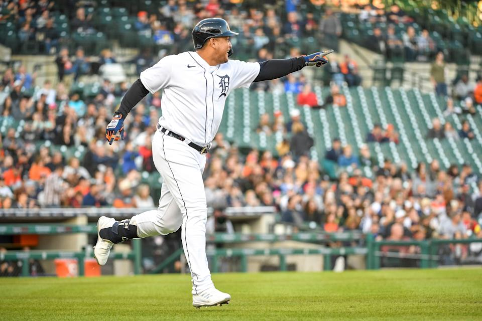 Miguel Cabrera of the Detroit Tigers reacts to hitting a single against the Kansas City Royals during the bottom of the second inning at Comerica Park on Sept. 25, 2021 in Detroit.