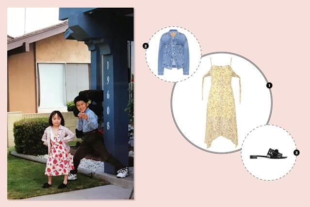 "<p>I actually don't mind my outfit too much other than the obvious clashing of colors and prints. For a redo, I would still wear a floral printed dress, but trade out the plaid jacket for an on-trend denim one. As for my footwear, I'd swap out my slingback flats for a chic pair of mules. —<em>Julie Tong, Yahoo Style fashion market editor</em><br><a href=""http://us.topshop.com/en/tsus/product/clothing-70483/dresses-70497/floral-print-button-front-skater-dress-6790374?bi=60&ps=20"" rel=""nofollow noopener"" target=""_blank"" data-ylk=""slk:Topshop, Floral Print Button Front Skater Dress, $100"" class=""link rapid-noclick-resp""><span>Topshop, Floral Print Button Front Skater Dress, $100</span></a><br><a href=""https://www.mytheresa.com/en-us/000895-denim-jacket-789156.html?utm_source=affiliate&utm_medium=polyvore.us"" rel=""nofollow noopener"" target=""_blank"" data-ylk=""slk:Balenciaga Denim Jacket, $995"" class=""link rapid-noclick-resp""><span>Balenciaga Denim Jacket, $995</span></a><br><a href=""http://www.mercedescastillo.com/Farrah/MC-FARRAH,default,pd.html?dwvar_MC-FARRAH_colormaterial=001%20GRAINED%20CF%2fNAPPA%20CF&cgid=shoes-mc#start=1"" rel=""nofollow noopener"" target=""_blank"" data-ylk=""slk:Mercedes Castillo Farrah, $595"" class=""link rapid-noclick-resp""><span>Mercedes Castillo Farrah, $595</span></a> </p>"