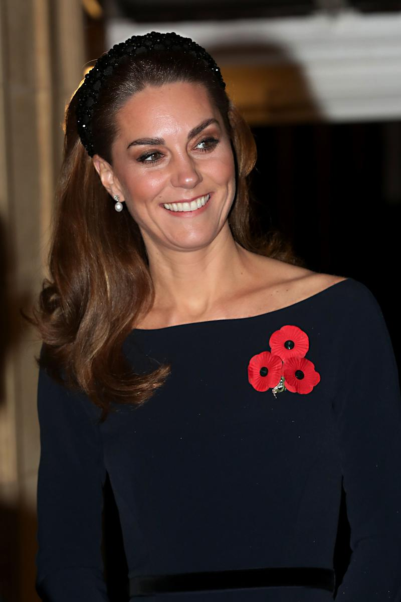 The Duchess of Cambridge wearing a padded headband at the annual Royal British Legion Festival of Remembrance at the Royal Albert Hall in London on November 9, 2019. (Getty Images)