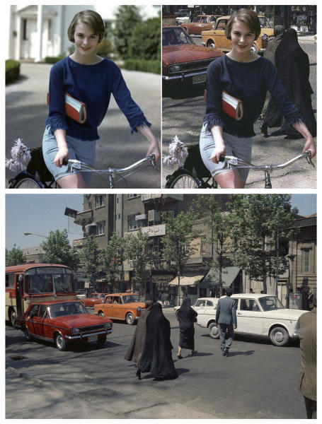 This combination of images shows actress Jean Seberg photographed by Willy Rizzo in the Hollywood area of Los Angeles in 1959, top left, and a street scene in Tehran, Iran, taken by Roy Essoyan for The Associated Press in 1970, bottom. The image at right, which has been circulating online, overlays the first photo on top of the second, to falsely appear as if Seberg was in Iran pre-1979. (Willy Rizzo, left, Roy Essoyan, bottom, via AP)