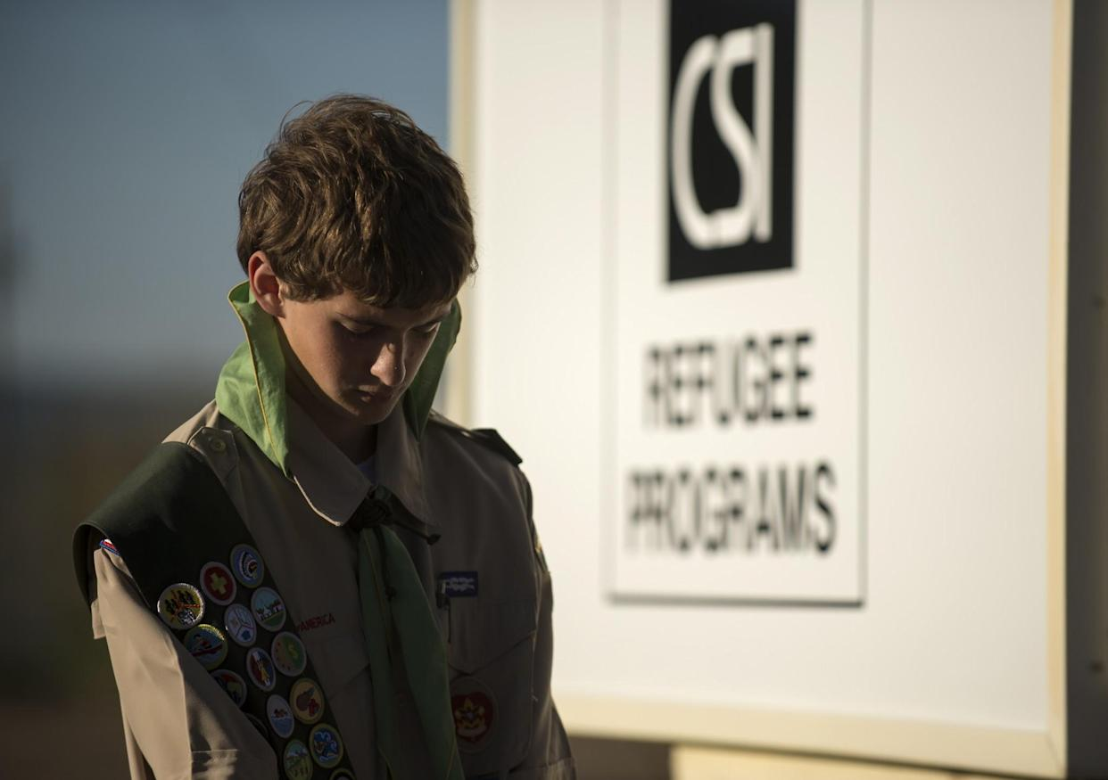 Eagle Scout Porter Buckley during a prayer at his troop's flag presentation, May 9, 2017, at the CSI Refugee Center in Twin Falls, Idaho. (Photo: Drew Nash/Times-News)