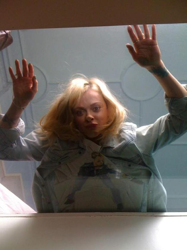 Celebrity photos: When Fearne went on a photoshoot in a house with glass floors this week, she couldn't resist lying down and pressing her face against it for a hilarious snap.