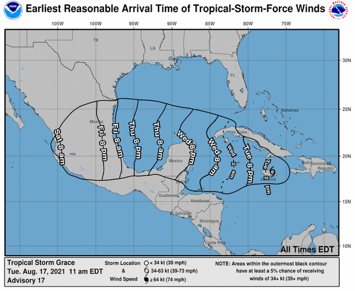 Earliest arrival time of winds from Tropical Storm Grace in the 11 a.m. Tuesday, Aug. 17, 2021 advisory.