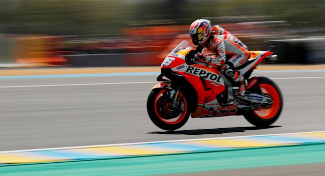 Motorcycling - MotoGP - French Grand Prix - Bugatti Circuit, Le Mans, France - May 20, 2018 Repsol Honda Team's Dani Pedrosa during the race REUTERS/Gonzalo Fuentes