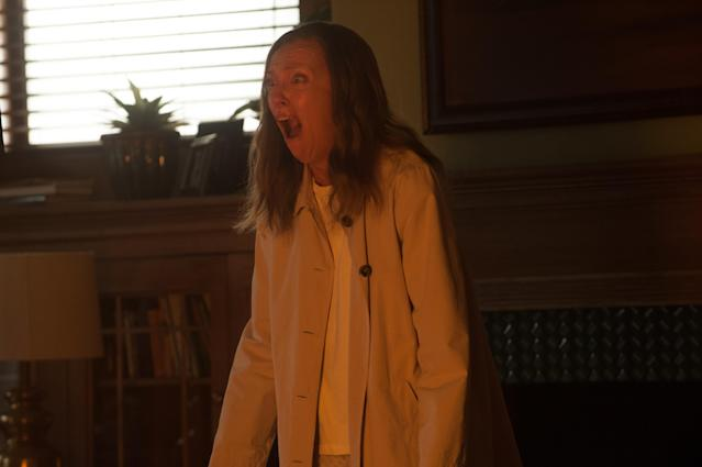 Toni Collette in one of many scary moments from <em>Hereditary.</em> (Photo: Reid Chavis, courtesy of A24)