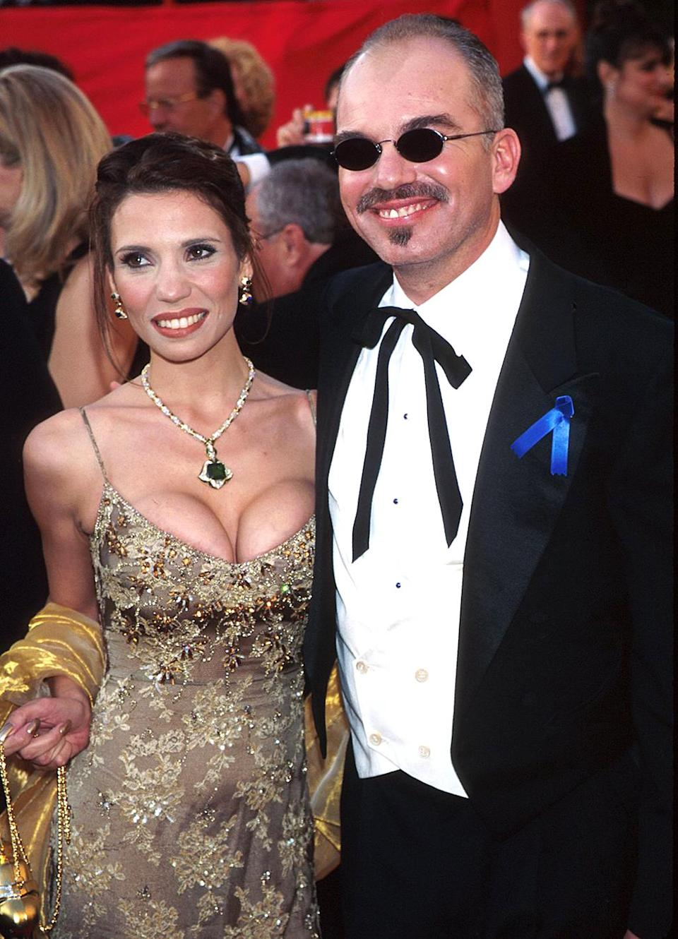 <p>Thornton, with then-wife Pietra, was nominated for Best Actor and took home the Best Screenplay award for 'Sling Blade.' (Photo: KMazur/WireImage) </p>