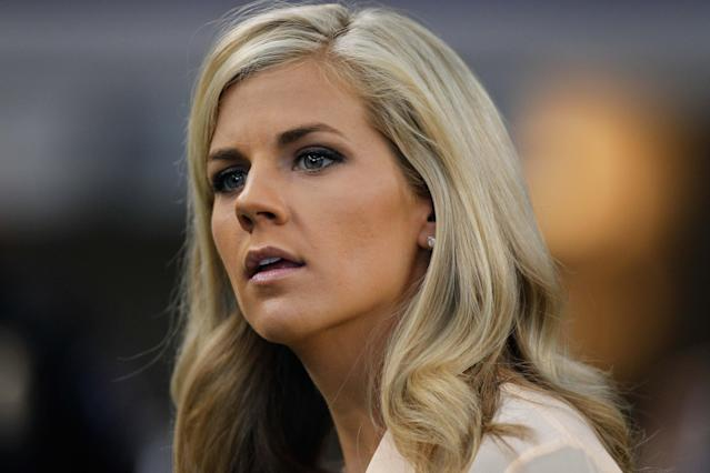 Samantha Steele looks on during a game between Alabama and Michigan.