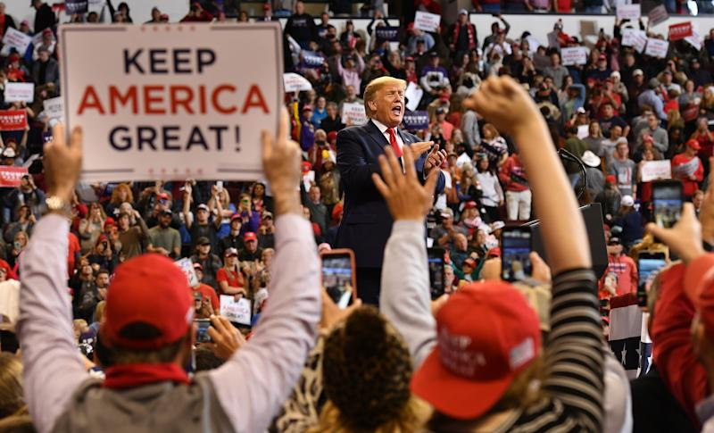 "President Trump speaks at a ""Keep America Great"" rally in Bossier City, La., on Nov. 14. (Photo: Mandel Ngan/AFP via Getty Images)"