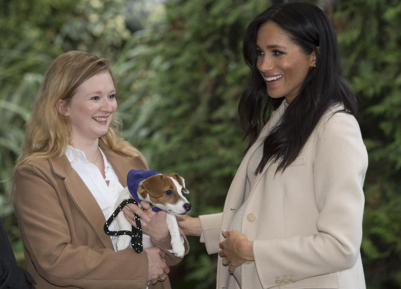 En janvier, Meghan rendait visite à l'association de protection animale Mayhew. [Photo : PA]