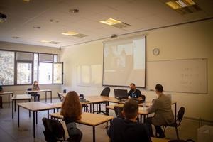 """Hybrid courses are divided into """"lions"""" and """"eagles"""" teams. In the first class of the week, the """"lions"""" team attends the class on the ground, and the """"eagles"""" team attends the class online. In the second class of the week, the """"eagles"""" team attends the class on the ground, and the """"lions"""" team attends the class online. The teams alternate throughout the rest of the semester."""