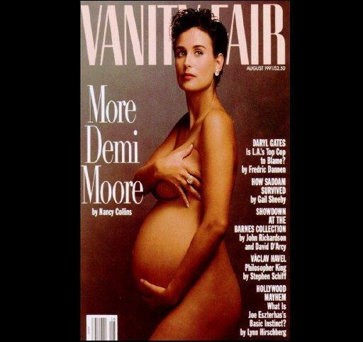 Demi Moore, pregnant and naked, cover of Vanity Fair for August 1991, photo by Annie Leibowitz
