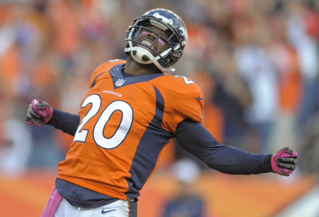 Denver Broncos strong safety Mike Adams (20) reacts after breaking up a pass against the Jacksonville Jaguars in the fourth quarter of an NFL football game, Sunday, Oct. 13, 2013, in Denver. Denver won 35-19. (AP Photo/Jack Dempsey)
