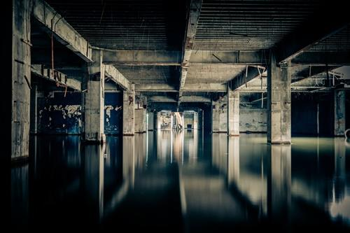What lies beneath the stagnant water?