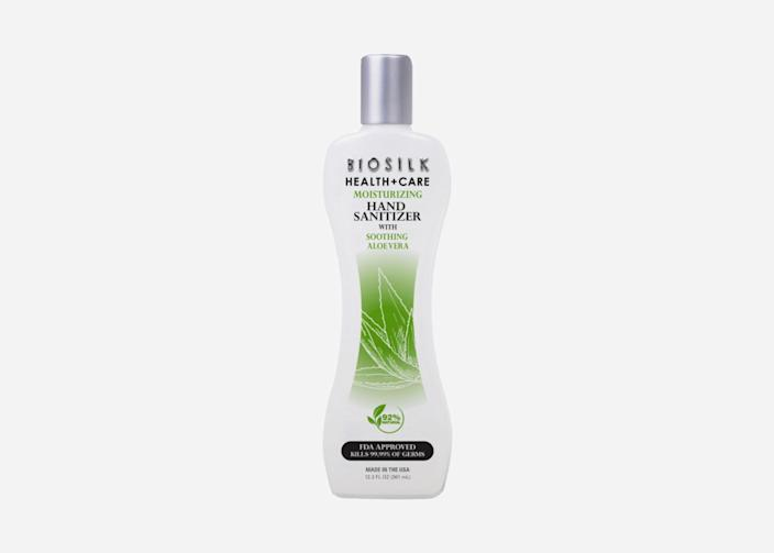 "For those with extra-dry or sensitive skin, Biosilk's hand sanitizer will do the best job of keeping hands hydrated. The texture is silkier than most gels, with a light, aromatic scent. It's made with 77% ethyl alcohol and aloe vera extract, and comes in a 12.2-fluid-ounce container, making it ideal to slip in your car for a road trip. $12, Biosilk. <a href=""https://biosilk.com/product/biosilk-moisturizing-hand-sanitizer/"" rel=""nofollow noopener"" target=""_blank"" data-ylk=""slk:Get it now!"" class=""link rapid-noclick-resp"">Get it now!</a>"
