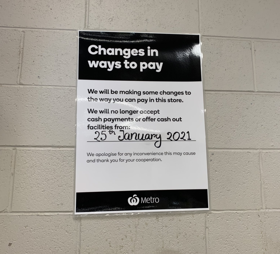 Flyer inside a Metro store stating cashless payments only will commence January 25.