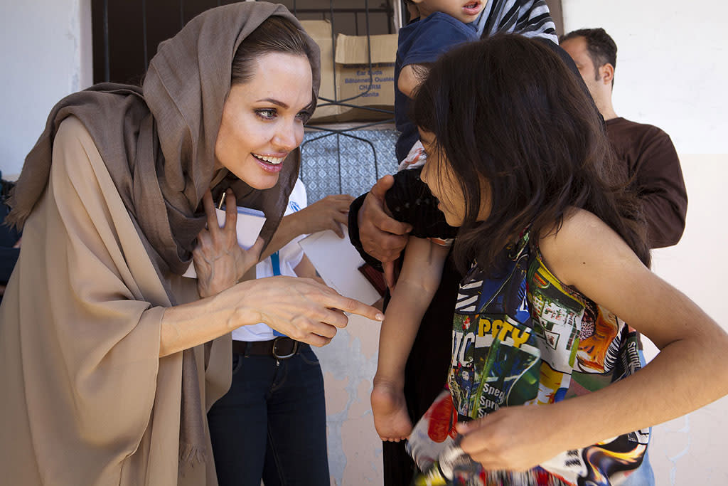 "<p class=""MsoNormal"">Though the world has been focused on when her wedding will take place, Angelina Jolie has remained focused on something much more serious: her human rights work. On Tuesday, the 37-year-old joined UN Refugee Chief Antonio Guterres to pay a visit to refugees in Lebanon's Bekaa Valley. According to the UN Refugee Agency, for which Jolie serves as a special envoy, the purpose of the trip was to demonstrate solidarity with Syrian refugees and pay tribute to the Jordanian government and people for their commitment to refugee protection. (9/11/2012) </p>"