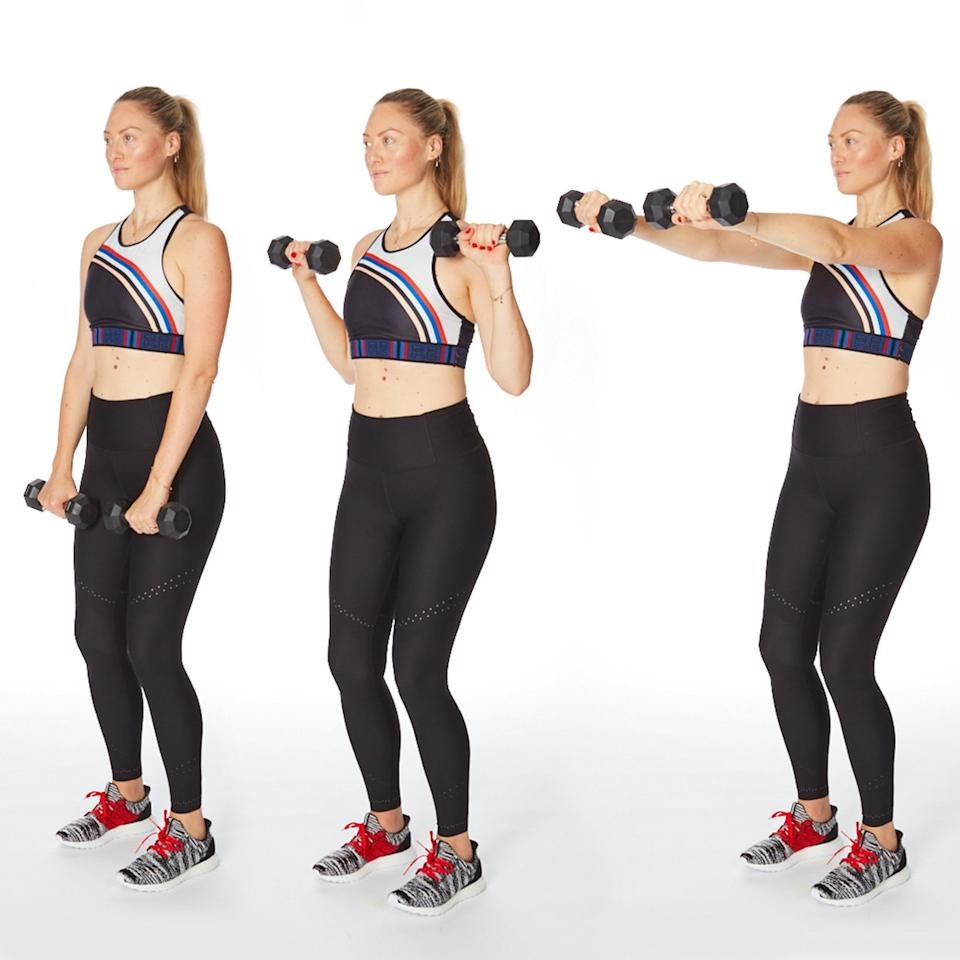 """<p>Target your biceps and shoulders with this arm exercise for women that's a hybrid between a traditional biceps curl, front raise, and chest press. It might feel easy at first, but will be a challenge come rep 18. (Related: <a href=""""https://www.shape.com/fitness/tips/how-to-biceps-curl-exercise-dos-donts-jen-widerstrom"""" target=""""_blank"""">How to Perform the Perfect Biceps Curl, According to Jen Widerstrom</a>)</p> <ul><li>Stand with feet hip width, holding dumbbells in front of thighs, palms facing body.</li> <li>Bend elbows by sides and curl weights up. Extend arms straight out in front of shoulders, palms facing the floor, keeping core engaged.</li> <li>Bend elbows back in by sides and lower to start.</li> </ul><p><strong>Do 20 reps.</strong></p>"""