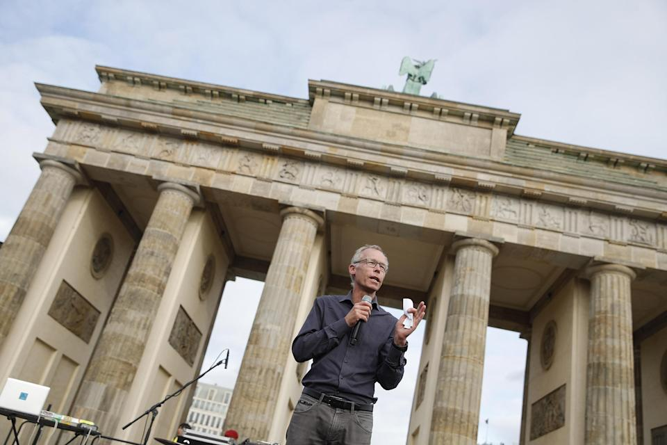 """Joint director of the Potsdam Institute for Climate Impact Research Johan Rockstrom talks during the """"Fridays for Future"""" demonstration in Berlin."""