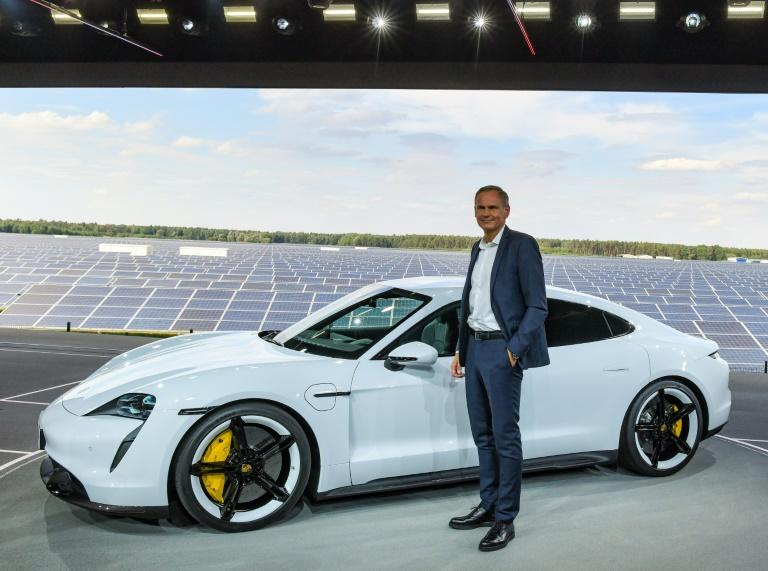 Porsche expects well-heeled clients to fork over a hefty sum for its new battery-powered Taycan model (AFP Photo/Patrick Pleul)