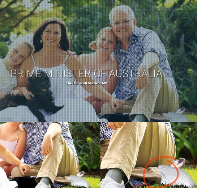 Scott Morrison shoe photoshop fail gives Australian prime minister two left feet