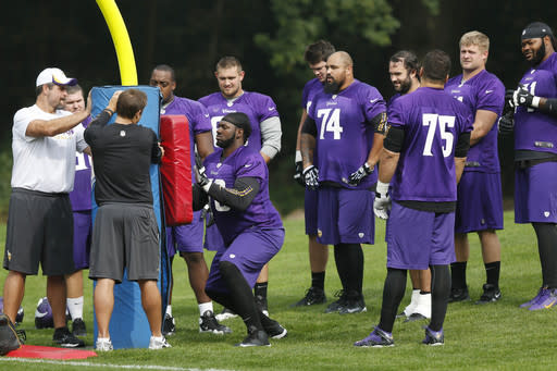 Minnesota Vikings' players practice their football at the Grove Hotel in Watford, England, Wednesday, Sept. 25, 2013. Vikings play Pittsburgh Steelers on Sunday in a NFL football game at Wembley Stadium in London. (AP Photo/Sang Tan)