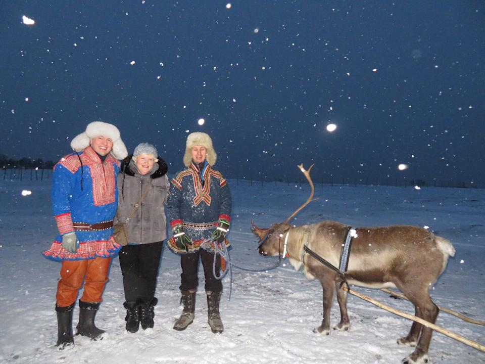 Amy Berman (second from left) recently visited Norway and even got a reindeer ride. She credits palliative care with her ability to keep working and traveling, despite a diagnosis of inflammatory breast cancer nine years ago. (Photo: Courtesy of Amy Berman)
