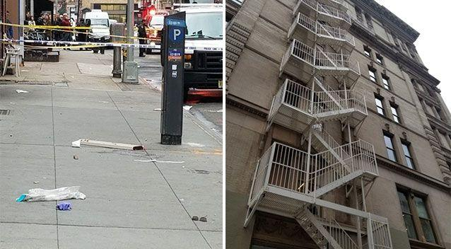 Debris from the fire escape as police establish a crime scene in SoHo, New York. Source: Twitter/ NYPD Fifth Precinct