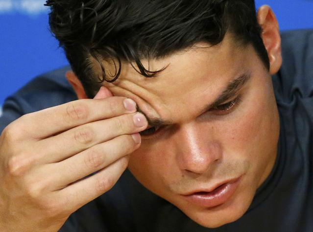 Canada's Milos Raonic reacts during a news conference after losing his semi-final match against Britain's Andy Murray at the Australian Open tennis tournament at Melbourne Park, Australia, January 29, 2016. REUTERS/Issei Kato