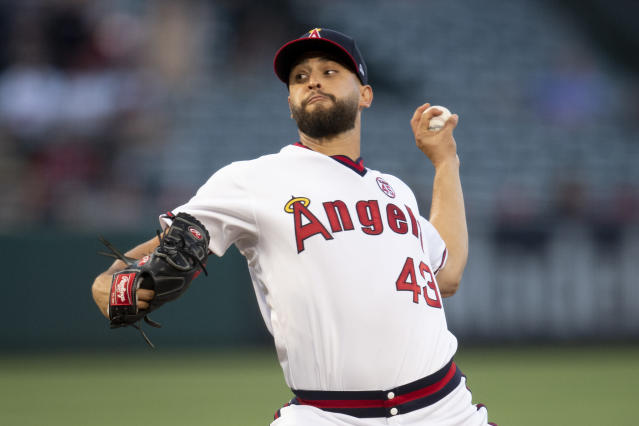 Los Angeles Angels starting pitcher Patrick Sandoval throws during the first inning of the team's baseball game against the Chicago White Sox in Anaheim, Calif., Friday, Aug. 16, 2019. (AP Photo/Kyusung Gong)