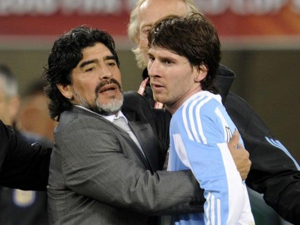 Diego Maradona and Lionel Messi (AFP via Getty Images)