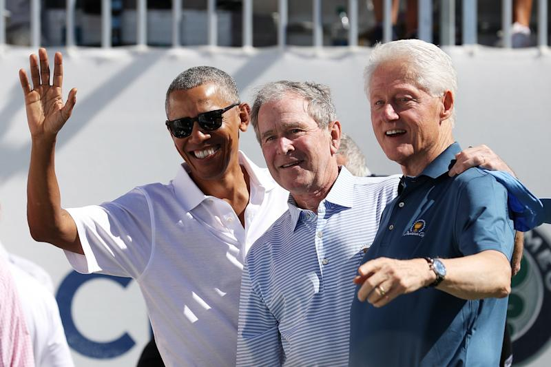Former U.S. Presidents Barack Obama, George W. Bush and Bill Clinton enlivened the opening ceremonies of the Presidents Cup at Liberty National Golf Club on Sept. 28, 2017, in Jersey City, New Jersey.