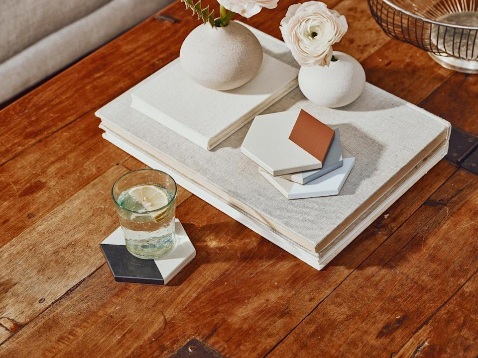 <p>These <span>Tia Mowry X Etsy Hexagon Concrete Coasters</span> ($30) are beautiful accent pieces.</p>