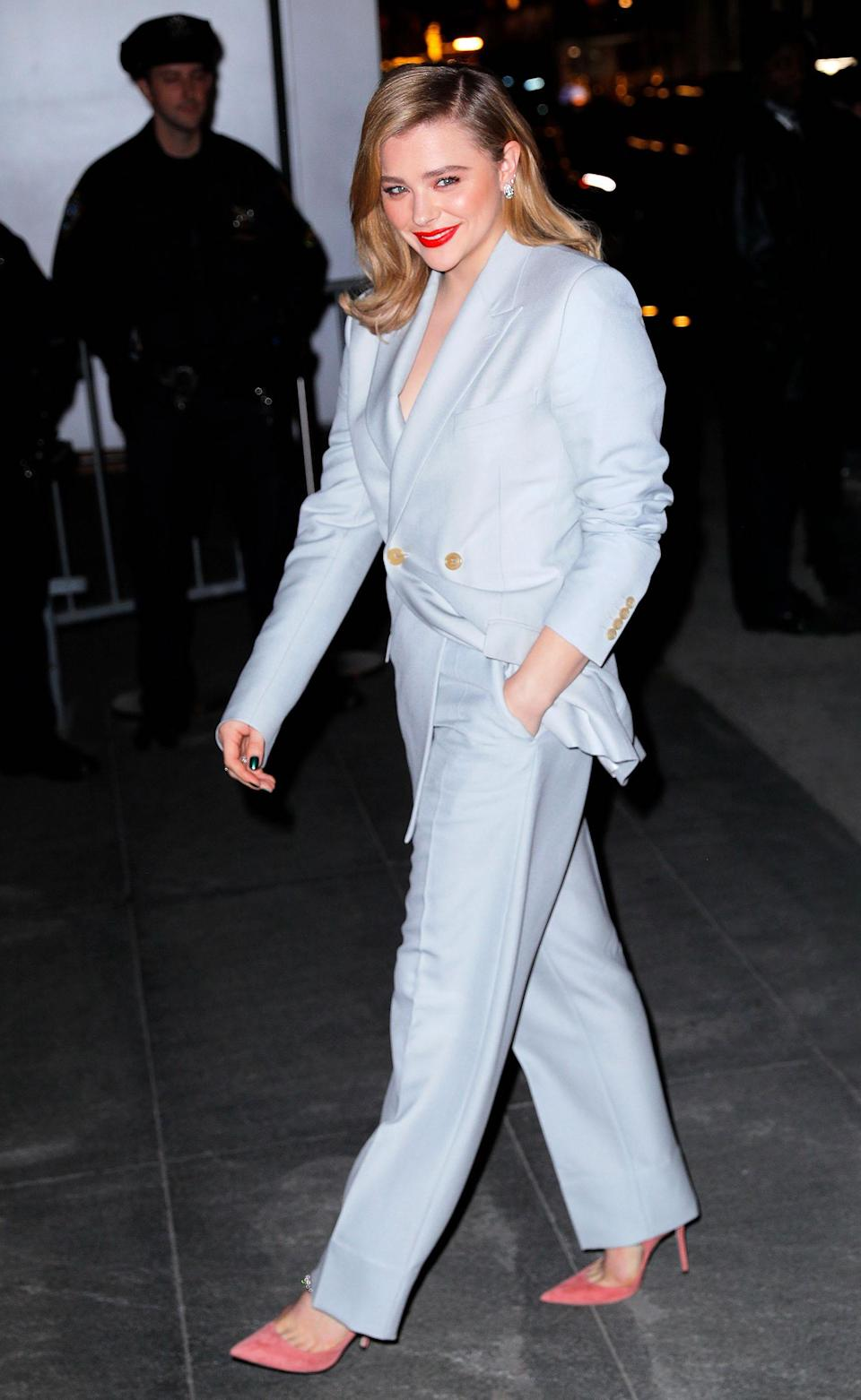 <p>On November 19, Chloë Moretz demonstrated how to work a chic evening suit this festive season at the 'Film Benefit: A Tribute To Martin Scorsese' event in New York. <em>[Photo: Getty]</em> </p>
