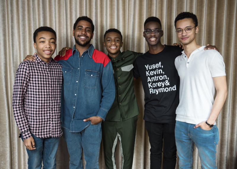 "<p> This May 20, 2019 photo shows Asante Blackk, from left, Jharrel Jerome, Caleel Harris, Ethan Herisse, and Marquis Rodriguez posing at the Mandarin Oriental Hotel in New York to promote their Netflix show ""When They See Us."" (Photo by Christopher Smith/Invision/AP) </p>"
