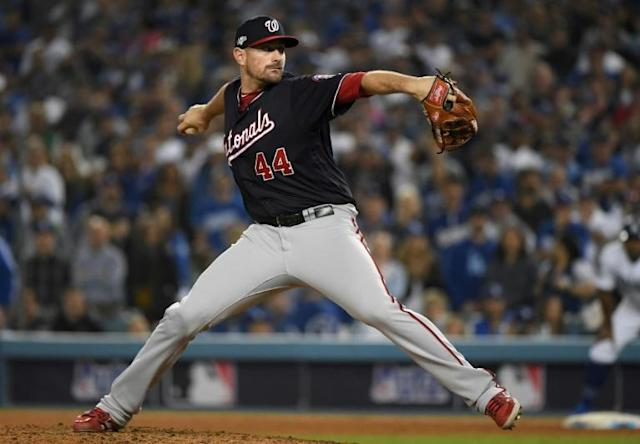 Nationals reliever Daniel Hudson is back with the team after missing Game One to attend the birth of his daughter (AFP Photo/Harry How)