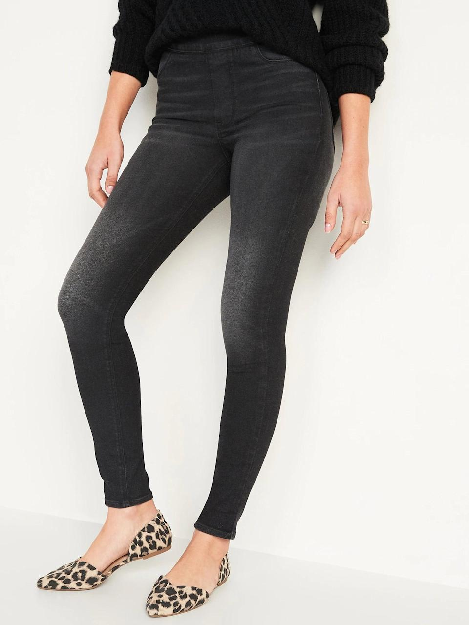 <p>Grab a pair of these <span>Old Navy Mid-Rise Rockstar 360° Stretch Super Skinny Black Jeggings for Women</span> ($35, originally $45) when you want to be wearing actual leggings. (And, with only a faux fly, there are zero zippers or buttons here.)</p>